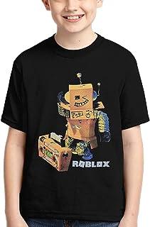 OWL QUEEN Kids Short Sleeve Shirt Black Rob-Lox Sports Absorb Sweat Tee for Boys