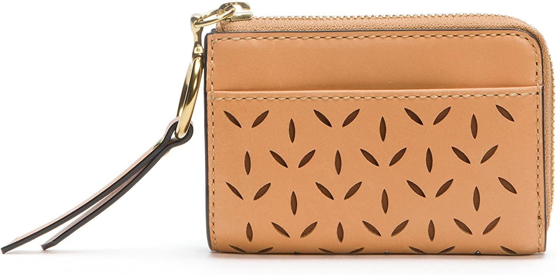 Ilana Perf Small Zip Wallet Oiled Veg Wallet, Light Tan, One Size