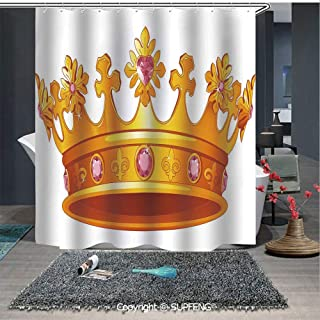 SUPFENG Boho Shower Curtain Golden Color Crown with Gemstone Figures Antique Tiara Nobility Symbol (72W x 72L Inch) Colorful,Bold Design,Waterproof,Easy to Care,Privacy Protection