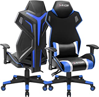 Homall Gaming Chair Racing Style Office Chair High Back Computer Desk Chair Ergonomic Swivel Chair Breathable Back Bucket Seat Chair with Adjustable Armrest 1 Pack (Blue)