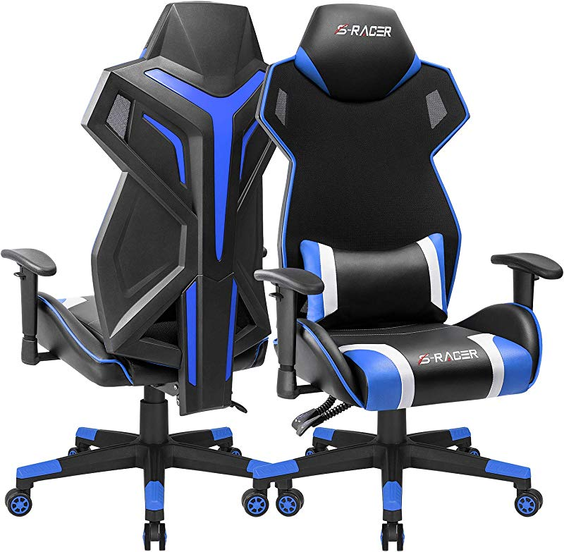 Homall Gaming Chair Racing Style Office Chair High Back Computer Desk Chair Ergonomic Swivel Chair Breathable Mesh Back Bucket Seat Chair With Adjustable Armrest 1 Pack Blue