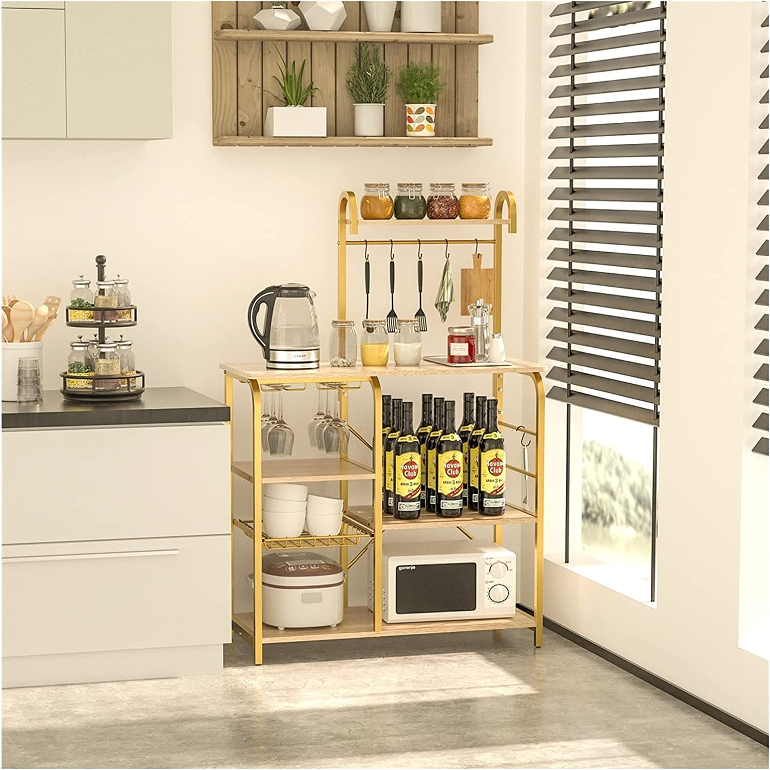 WHNB Kitchen Shelf Microwave Rack with Board Particle S-Shaped 6 Popular brand Large discharge sale