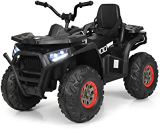 Costzon Ride on ATV, 12V Battery Powered Electric Vehicle w/ Safety Belt, LED Lights, Horn, 2 Speeds, USB/ MP3/TF, Rear Wh...