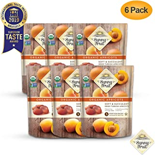 ORGANIC Turkish Dried Apricots - Sunny Fruit - (6 Bags) - (5) 1.76oz Portion Packs per Bag   Purely Apricots - NO Added Sugars, Sulfurs or Preservatives   NON-GMO, VEGAN, HALAL & KOSHER