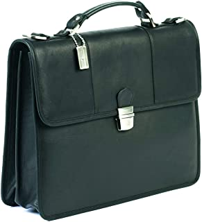 Claire Chase Tuscan Leather Laptop Briefcase, Computer Bag in Black