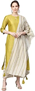 INDO ERA Women's Cotton Straight Kurta Sets (Green)