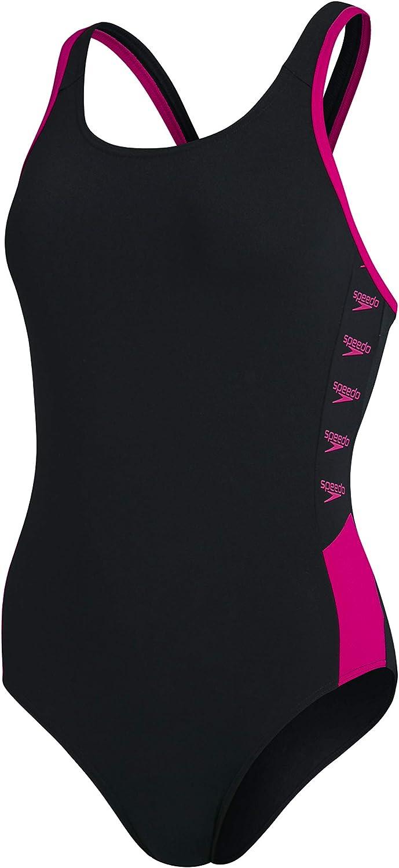 Speedo Boom Logo Splice Muscleback One Piece Swimsuit Mujer