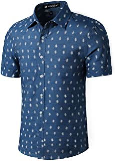 Men Short Sleeves Fishbone Printed Cotton Chambray Button Down Casual Business Shirt