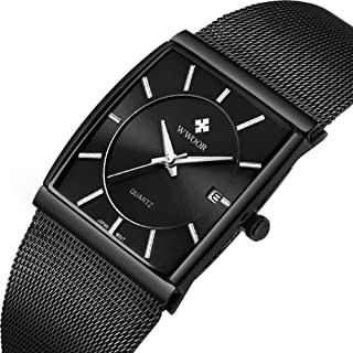 Mens Stainless Steel Mesh All Black Dress Watch with Date Men Watches Rectangle Dial Watch Classic