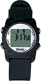 WobL+ World's Smallest & Best Waterproof Vibrating 9 Alarms + Countdown Timer Wristwatch for Sports/Medicine/Meeting/Potty Reminders, Black