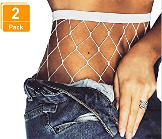 Fishnet Stockings Pantyhose Women's 2 Pair High Waist Hollow Mesh Tights Legging Hosiery