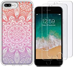 iPhone 7 Plus Case/iPhone 8 Plus Case with 2 Pack Glass Screen Protector Phone Case for Men Women Girls Clear Soft TPU with Protective Bumper Cover Case for iPhone 7 Plus-Mandala