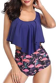 HelloTem Women Retro Flounce Swimsuit High Waisted Bikini Halter Strappy Two Piece Swimwear