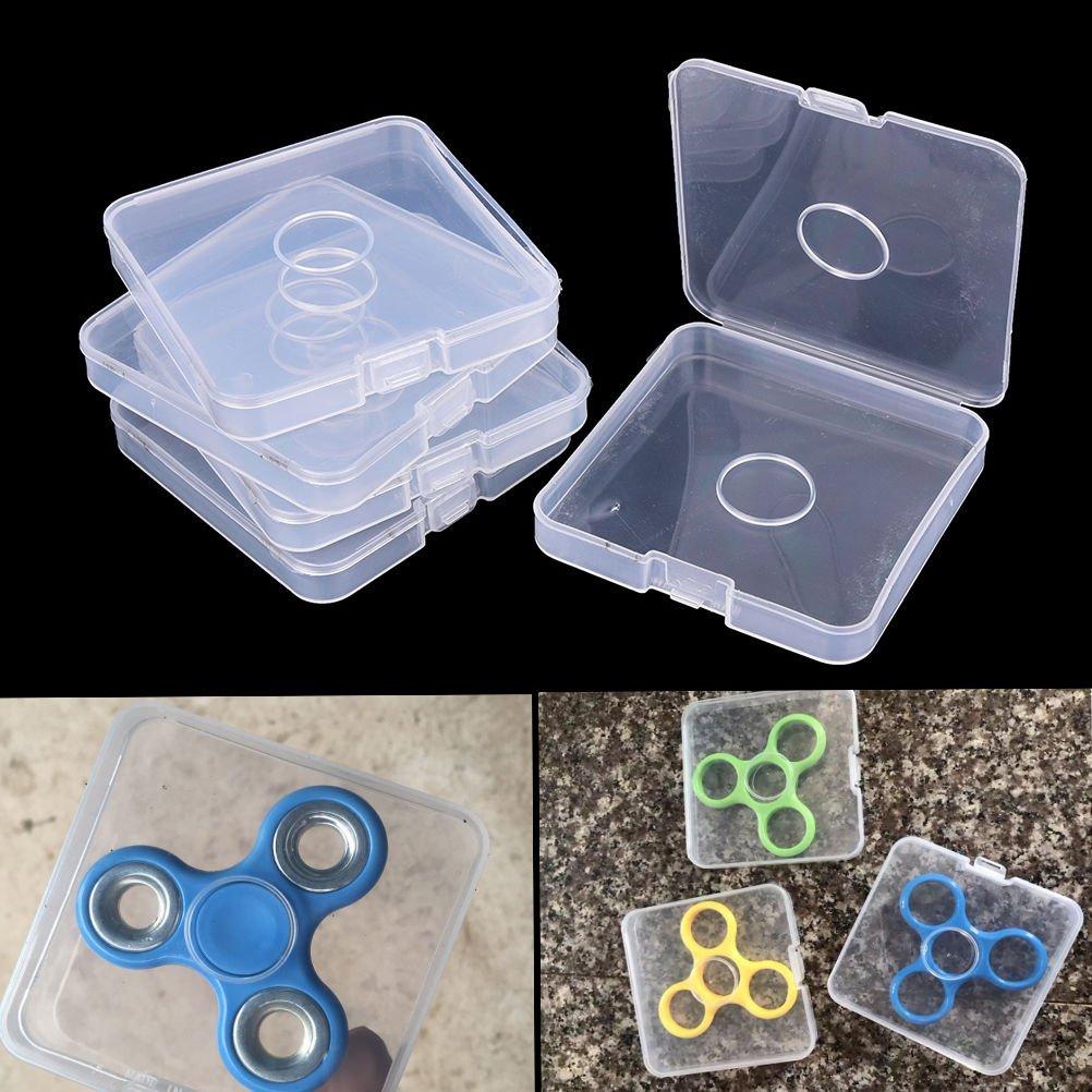 dengguoli 5 unidades portátil plástico claro Fidget Spinner proteger caso cajas bolsas sólo para Spinner juguetes: Amazon.es: Hogar