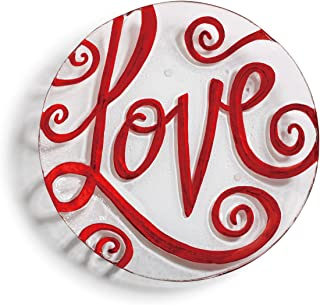 Love Script Valentine's Day Red On White 11 x 11 Vibrant Glass Accent Plate