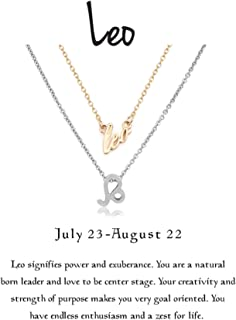 Zealmer Women 16K Gold Plated 12 Zodiac Sign Letter Pendant Necklace 18