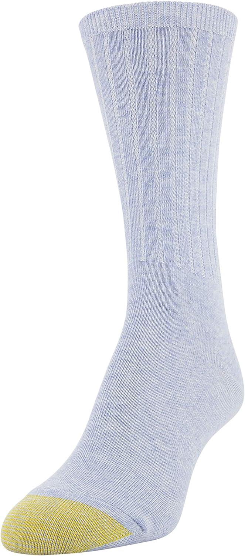Sz 9-11 fits shoe sz 6-9 Blue//Grey GOLD TOE Women/'s 6 Pack Ribbed Crew Socks
