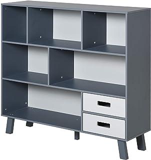 HOMCOM Estantería Librería con 6 Compartimentos y 2 Cajones Mueble Auxiliar con Patas para Libros Decoraciones Fotos 105x3...