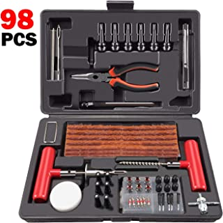 ORCISH 98Pcs Tire Repair Plug Kit Heavy Duty Flat Tire Repair Kit Universal Tire Repair Tools & Tire Repair Set for Car Motorcycle Truck RV Jeep ATV Tractor Trailer Tire Patch Kits Puncture Repair Kit