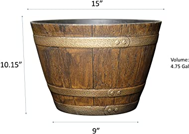 """Classic Home and Garden 72 Whiskey Barrel, 15"""", Distressed Oak"""