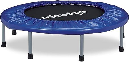 Relaxdays Opvouwbare trampoline, indoor, fitness h x b x d: 22 x 95 x 95 cm, maximale belasting 100 kg, blauw-zwart
