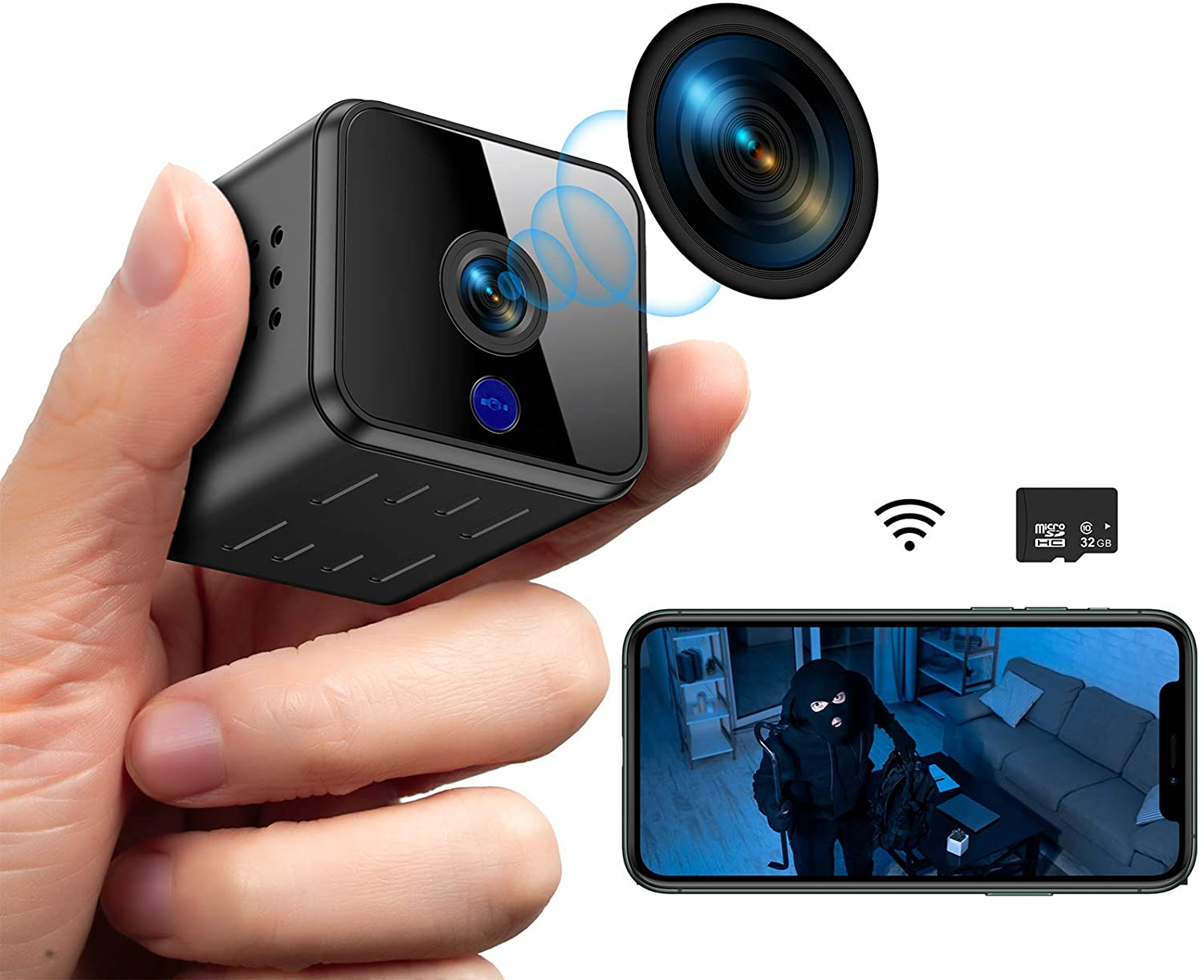 Mini Hidden Spy Camera WiFi Night Vision HD 1080P Motion Detection Small Video Camera Security Nanny Surveillance Cam Covert Cameras with a 32G SD Card with App for Home Indoor Outdoor