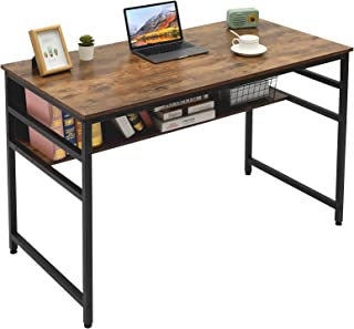Gome Computer Writing Desk for Home Office - 47 inch Sturdy Work Desk with Storage Shelf, Modern Simple Style Study Desk Gaming Table with Bookshelf, Space Saving