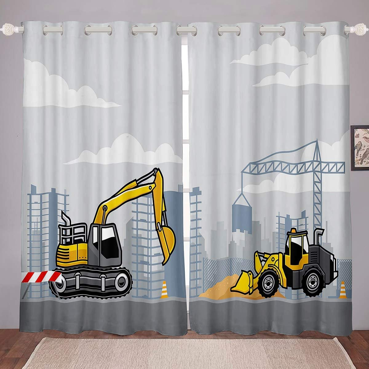 Feelyou OFFicial Construction Windows free shipping Drapes Cartoon Cu Printed Excavator