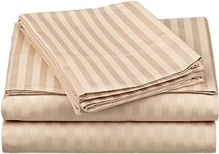 100% Egyptian Cotton 650 Thread Count King 4-Piece Sheet Set, Deep Pocket, Single Ply, Stripe, Beige