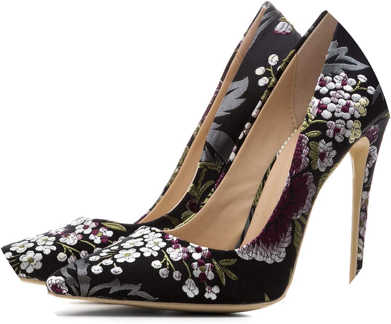 Woman Silver Embroider Pumps Stiletto Plus Size 33 43 Wedding High Heels Silk