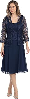 Womens Short Mother of The Bride Formal Lace Dress with Jacket