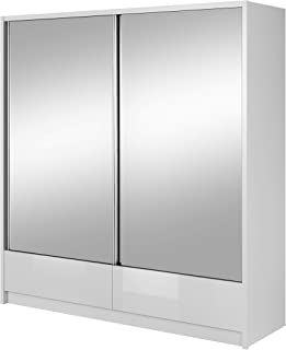 E-MEUBLES Armoire, Penderie avec étagéres Portes coulissantes Miroir encastré tiroirs Chambre à Coucher d'enfant d'ado Sal...