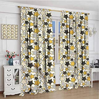 June Gissing Star Boho Curtains for Bedroom 45 inches Long, Abstract Polka Dot Motifs Room Darkening Roman Shades 63 x 45