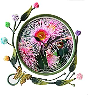 girlsight Iron Art Living Room Butterfly Flower Leaf Decorative Non-Ticking Quartz, Analog Large Numerals Bedside Table Desk Alarm Clock-153.Emergency, Hairy, Flower, Gum, Australia