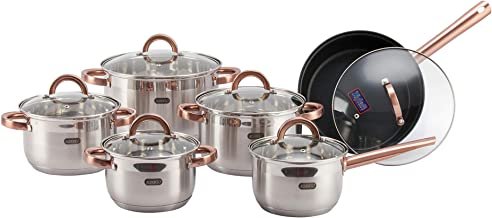 Alberto Stainless Steel Cookware Set 12 Pieces - Copper Handle