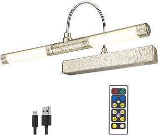 HONWELL Luz inalámbrica para cuadros con control remoto, cabezal de luz LED giratorio con temporizador, luz de pared regulable para pintar cuadros, exhibición de obras de arte, dorado