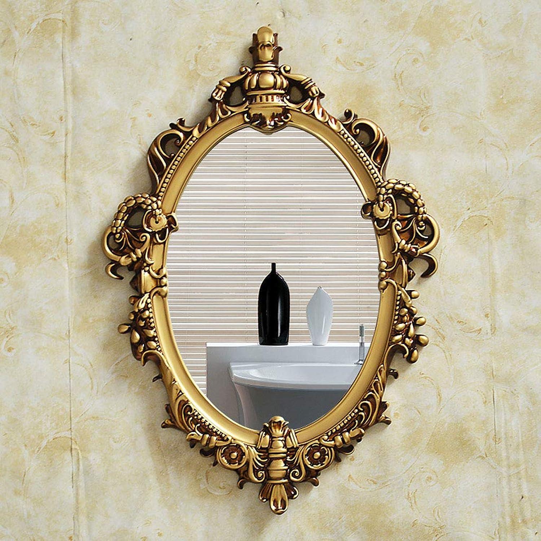 WaWei Bathroom Mirror Decorative Mirror Bathroom Mirror Wall Hanging Punch-Free Round Mirror Beauty Mirror Wall Corridor Mirror 42.5  61cm (color   B)