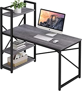 Homemaxs 47 Inches Computer Desk with 4 Tiers Adjustable Storage Shelves, Home Office Desks for Small Space, Workstation, Spacious Writing Table with Modern Simple Style for Students, Light Gray