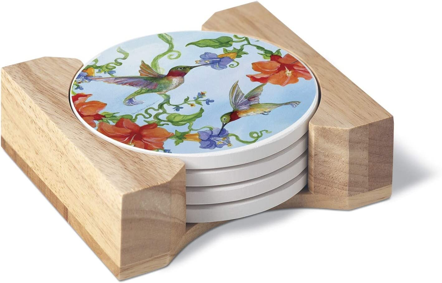Unknown1 Round Absorbent Coasters Set specialty shop Hummingbi of with Holder Fixed price for sale 4