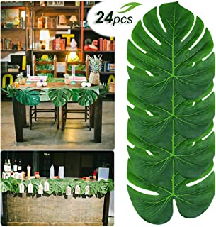 Gooidea 24pcs 14'' Palm Leaves Tropical Party Decorations Big Artificial Monstera Leaves Green Garland Décor Leaf Garlands Impress Your Big Day
