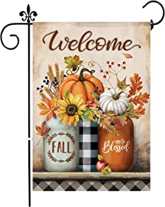 Fall Garden Flag 12.5 x 18 InchDouble SidedVerticalWelcome Autumn DecorationYard Thanksgiving Seasonal Holiday Outdoor Decor