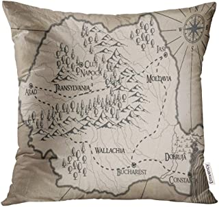 Emvency Decorative Throw Pillow Covers Abstract Old Fantasy Romania Map Ancient Antique Pillowcase Cushion Cover Case Protectors Sofa 20x20 Inches Double Sided