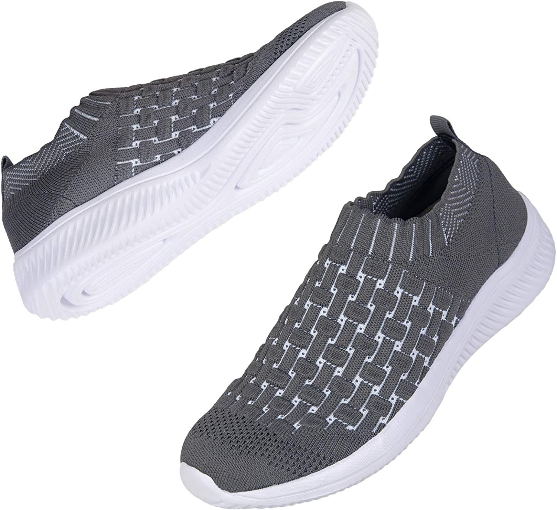 DKRUCAK Womens Comfort Elastic Sock Slip On Walking Shoes Lightweight Non-Slip Breathable (Dark Grey-EU 40/US 9