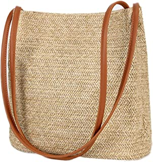 Womens Rattan Straw Bag, Hand Woven Summer Beach Bag Soft Surface Straw Handbag Top Handle Tote Purse Bag