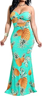 Arctic Cubic Sleeveless Strapless Twisted Cut Out Front Highwaist Long Maxi Bodycon Fishtail Mermaid Bandeau Dress