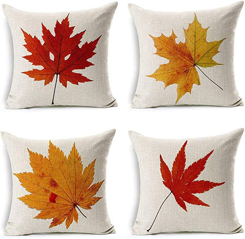 LEIOH Fall Decor Cotton Linen Leaves Maple Leaf Autumn Decorations Cushion Covers 18 X 18 Inch Sofa Home Decor Throw Pillow Case For Bed Pillow Covers Set Of 4