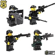 CombatBrick Police SWAT 4 Men Pack Assault Team - Custom Army Builder Military Minifigures lot