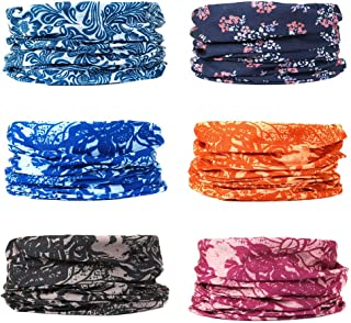 6pcs Bandana Face Mask Neck Gaiter Headwear Sports Scarf Headband For Women And Men