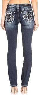 Miss Me Jeans Women's Finally Fluer De Lis Straight Leg Jeans