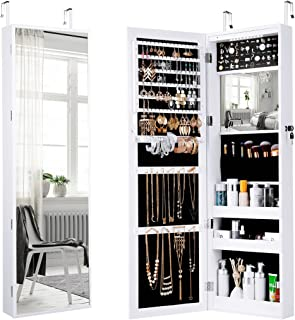 hanging jewelry organizer with mirror